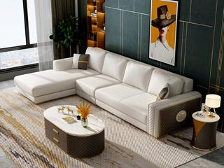 慕梵希 轻奢风格 优质头层黄牛皮  北美进口落叶松框架 D02沙发组合 (1+3+右贵妃)