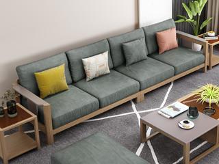 北欧风格 泰国进口橡胶木坚固框架 优质棉麻布艺 四人位沙发