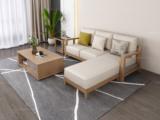 荣之鼎 北欧风格 泰国进口橡胶木坚固框架 优质棉麻布艺 三人位左贵妃 转角沙发