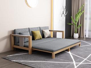 北欧风格 泰国进口橡胶木坚固框架 优质棉麻布艺 三人位拉床 功能沙发