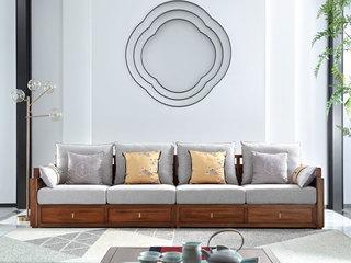 中式轻奢 金丝胡桃色 金丝檀木 四人位沙发(含3个抱枕)