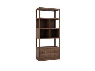 中式輕奢 黑胡桃色 金絲檀木 雙門書柜