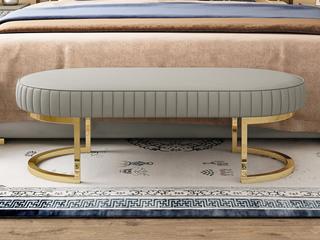轻奢风格 皮艺 床尾凳