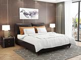 喜临门 黑森林 真皮实木双人床 现代风格免安装便捷1.8米皮艺软床