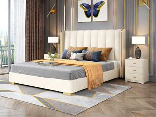 轻奢风格 皮艺 米黄色 1.8*2.0米床(搭配10公分松木排骨架)