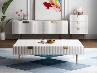 轻奢风格 精美条纹设计 优雅镀金支脚 梦幻白 1.3m茶几