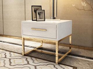 轻奢风格 镀金不锈钢 细腻光滑台面 优雅白 角几