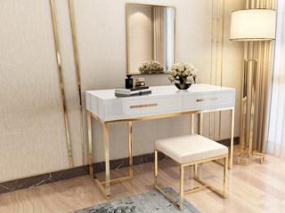 轻奢风格 镀金不锈钢 细腻光滑台面 优雅白 0.9m妆台