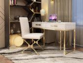 梵克美家 轻奢风格 镀金不锈钢 细腻光滑台面 优雅白 0.9m书桌