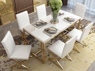 轻奢风格 钢化玻璃台面 镀金不锈钢 简约时尚 优雅白 1.4m餐桌