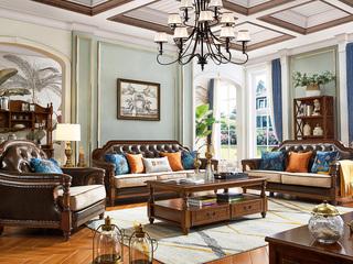 泰国深山直采橡胶木 匠造仿古铜钉 简美风格沙发内置高弹海绵 透气舒适皮布沙发(1+2+3)
