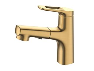 【包邮 快递到家(偏远地区除外)】防溅水两种出水模式台下盆冷热面盆铜龙头拉丝金色MS18JIN