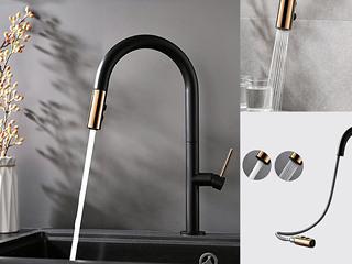 【包邮 快递到家(偏远地区除外)】两种出水模式 水槽抽拉龙头 防溅水起泡式出水 黑色ZY80HEI