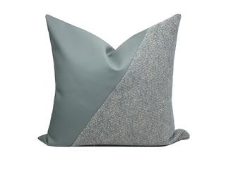 轻奢 肌理布+皮革 浅蓝色、灰色 花纹 抱枕