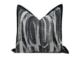 轻奢 肌理布 黑色 花纹 抱枕