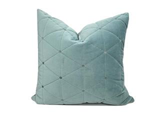轻奢 绒布 蓝绿色 花纹 抱枕
