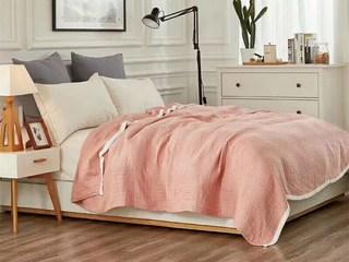 轻奢 针织 粉色 花纹 搭毯