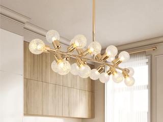 后现代 艺术卧室 创意玻璃吊灯 金色 18头 (含G9暖光5W)