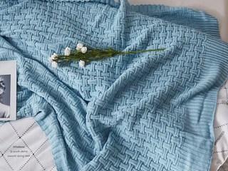 轻奢 针织 蓝色 花纹 搭毯