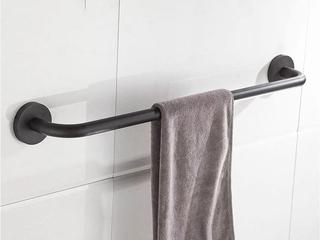 【包邮 快递到家(偏远地区除外)】 黑色明锐 单杆 毛巾架 圆形简洁黑色烤漆 304不锈钢浴室置物架 Q1003H