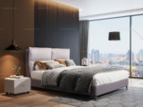 卡罗亚 现代简约 实木框架+科技布 优雅中性灰1.5米床