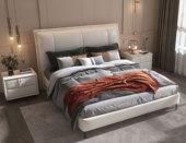 卡罗亚 现代简约 科技布+实木框架 高弹海绵 米白色 1.8米双人床