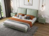 卡罗亚 轻奢风格 椰奶绿 优质皮艺+白鹅羽绒 柔软轻盈靠背 1.8米双人床