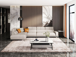 极简风格 高弹舒适 优质科技布 1+3+右贵妃 沙发组合