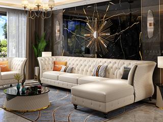 轻奢风格 皮艺 俄罗斯进口松木框架 转角沙发(1+3+左贵妃)(抱枕随机发货)