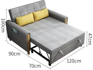 现代简约 可拆洗棉麻布艺 白蜡木框架303沙发床功能沙发