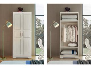 现代简约 主材樱桃木+白蜡木 大宝环保水性漆 全实木二门衣柜