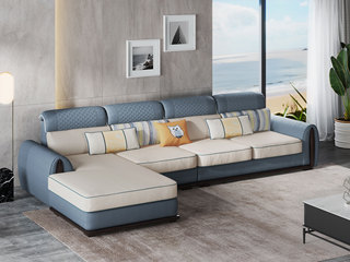 现代风格 超柔舒适 优质科技布+实木框架 2+2+脚踏 沙发套装组合 (不分左右)