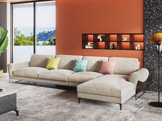 现代极简 舒适透气 优质布艺+实木框架 1+3+左贵妃转角沙发