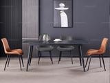 斐亚家居 极简 劳伦黑金岩板 1.3米 餐桌