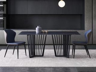极简 劳伦黑金岩板 1.8米 餐桌