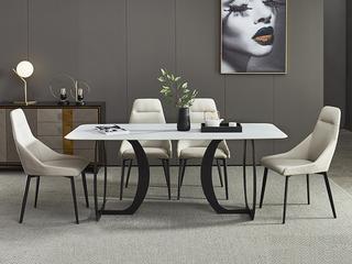 极简 白色岩板 1.3米 餐桌