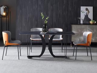 极简 劳伦黑金岩板 1.5米 餐桌