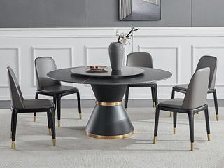 轻奢 劳伦黑金岩板 1.3米 圆餐桌(不含转盘)