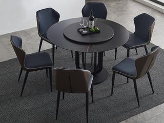 极简 雪山石岩板 1.3米 圆餐桌(不含转盘)