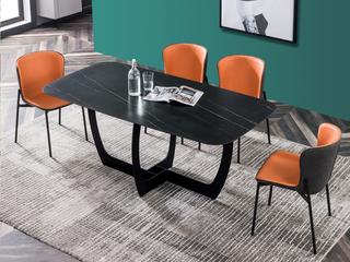 极简 劳伦黑金岩板 1.4米 餐桌