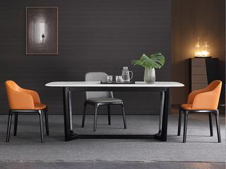 极简 雪山石岩板 1.4米 餐桌