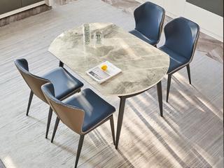 极简 意大利灰岩板 1.3米 餐桌(不含转盘)