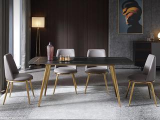 轻奢 劳伦黑金岩板 1.6米 餐桌