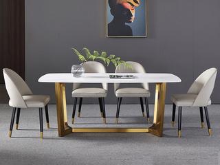 轻奢 雪山石岩板 1.4米 餐桌