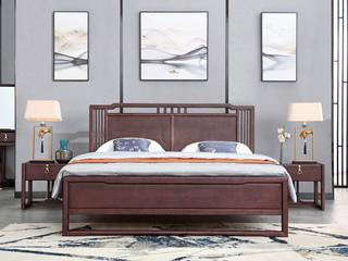 新中式 紫檀色 泰国进口橡胶木1.5米实木床