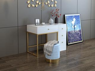 轻奢 钢化玻璃 光滑台面 梳妆台(不含椅子和镜子)