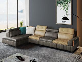 现代极简  高弹舒适 科技布+羽绒填充 1+3+右贵妃 沙发组合