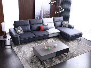 科技布 松木底架 现代简约 沙发组合(3+1+左贵妃)