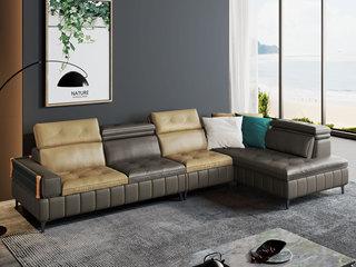现代极简  超柔科技布+羽绒填充 1+3+左贵妃沙发组合