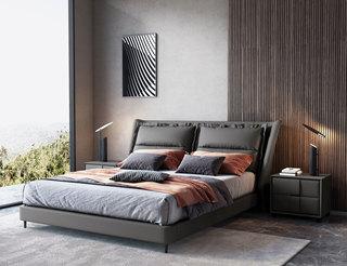 现代简约 充盈软靠 优质皮艺+白腊木 灰色 1.8米床